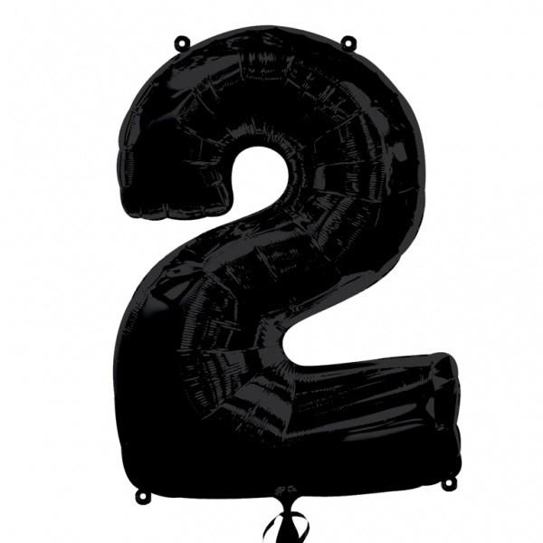 Шар из фольги «Цифра 2 (чёрная)»Цифры<br>Размер: 100?60 см Производитель: Betallic, США<br>