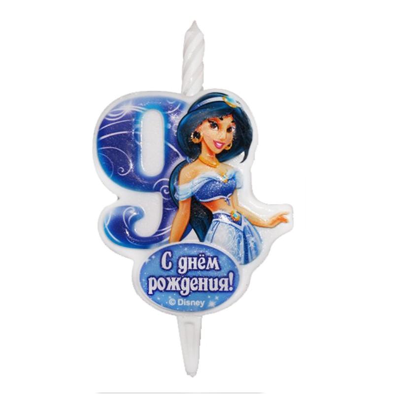 Свеча тортовая Цифра 9 «Принцесса Жасмин»Свечи на торт<br> <br>Размер:<br><br><br>12?6,8 см<br><br>