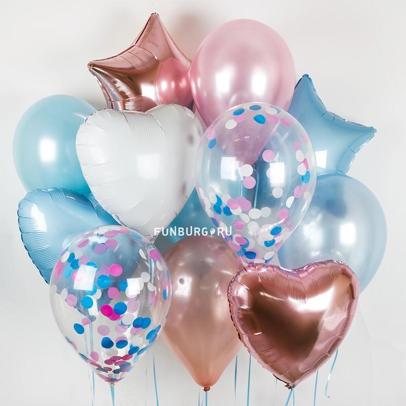 Набор шаров «Сердца и звезды»Латексные без рисунка<br>Вы можете корректировать количество шаров в наборе по своему желанию.<br>