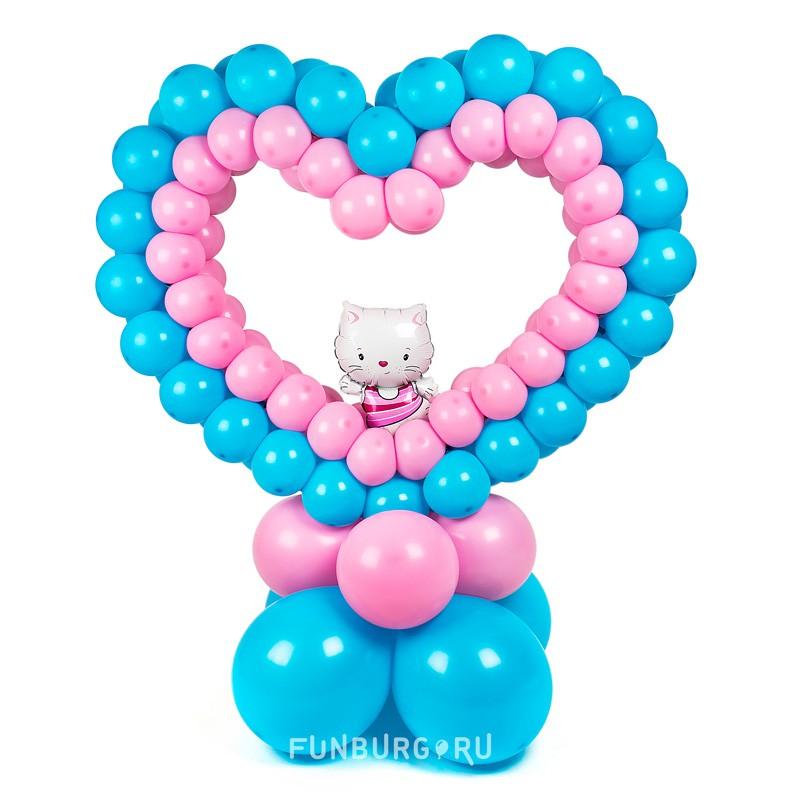 Фигура на подставке «Сердце с котенком»День святого Валентина<br>Высота: 100-110 см<br> Производство: Funburg.ru<br>