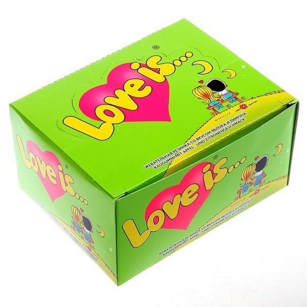 Жевательная резинка «Love is...» (яблоко-лимон)Сладости<br>Вкус: яблоко-лимонКоличество конфет: 100 шт.Вес: 420 гРазмер: 13,5?10,5?7 см<br>