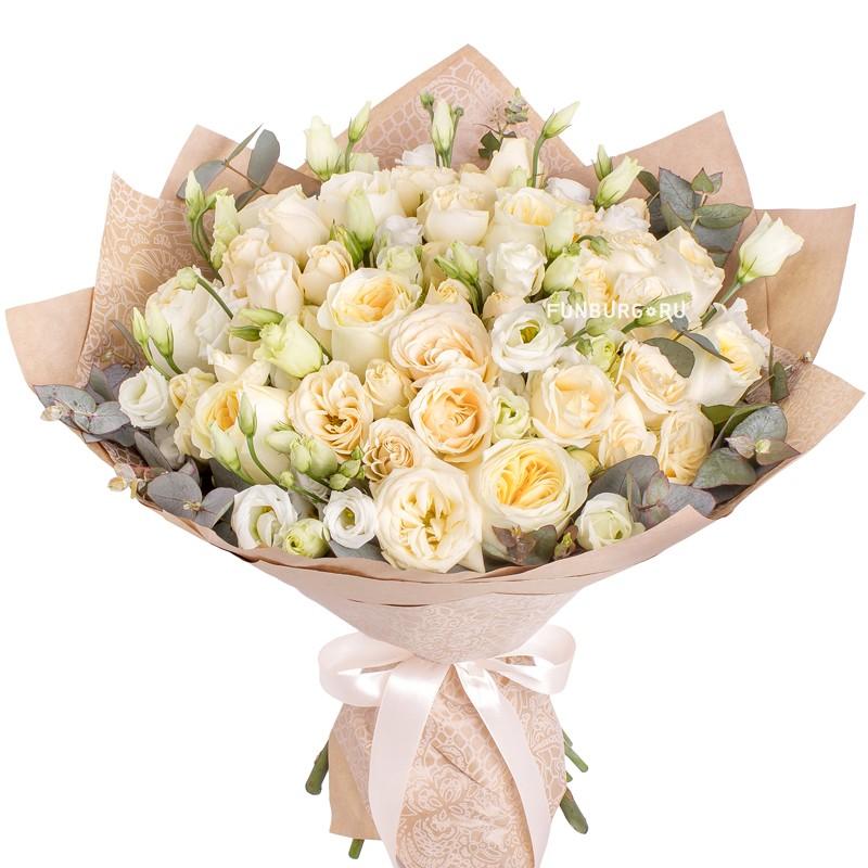 Букет «Кучерявый ангел»с розами<br> <br>Размер:<br><br><br>диаметр35 см<br><br>