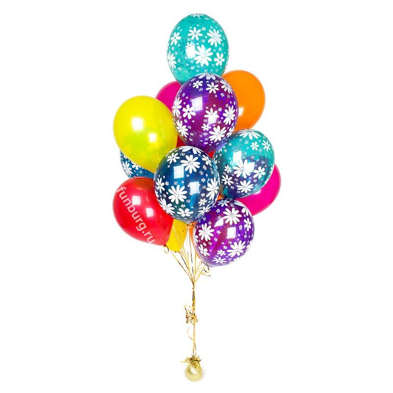 Букет шаров «Сромашками»Наборы шаров<br>Высота: 180 см<br> Состав: 7 шаров «Ромашки», 8 шаров без рисунка, грузик<br> Цвет: ассорти (кристалл)<br>