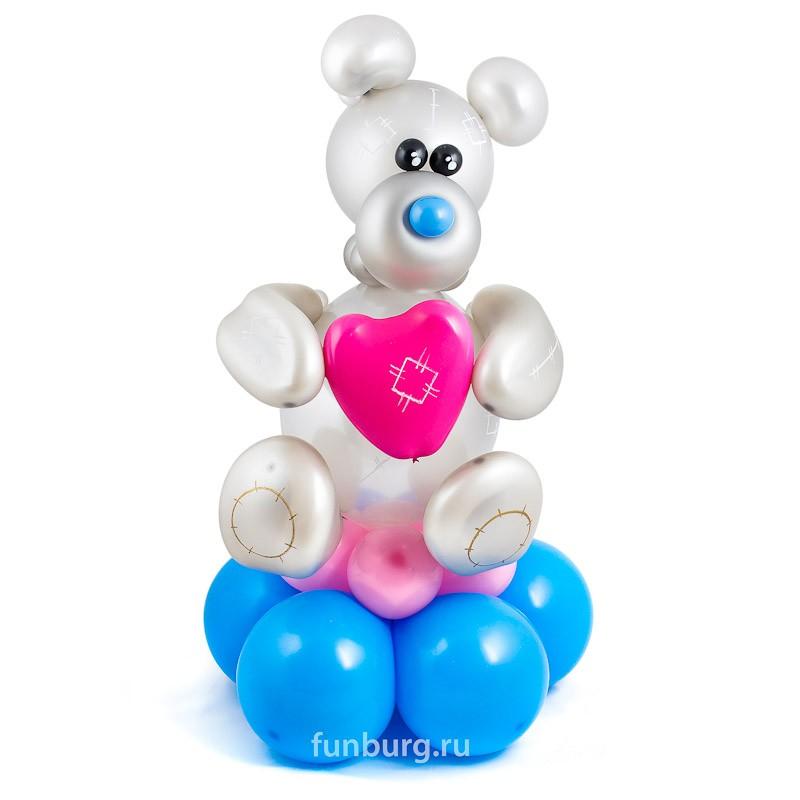 Фигура из шаров «Влюбленный мишка Тедди»С животными<br>Высота: 80 см<br>