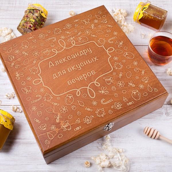 Большой подарочный набор мёда «Для хорошего настроения»День рождения<br> <br>Срок изготовления:<br><br><br>14 дней с момента оплаты<br><br><br> <br>Состав:<br><br><br>12 банок мёда по 280 г. (цветочный, крем-мёд, с пергой, с прополисом, соты в меду, с грецким орехом, с кедровым орехом, с кешью, с миндалём, с фисташкой, с корицей, с мятой)<br><br><br> <br>Размер:<br><br><br>33 ? 33 ? 8,2 см<br><br><br>