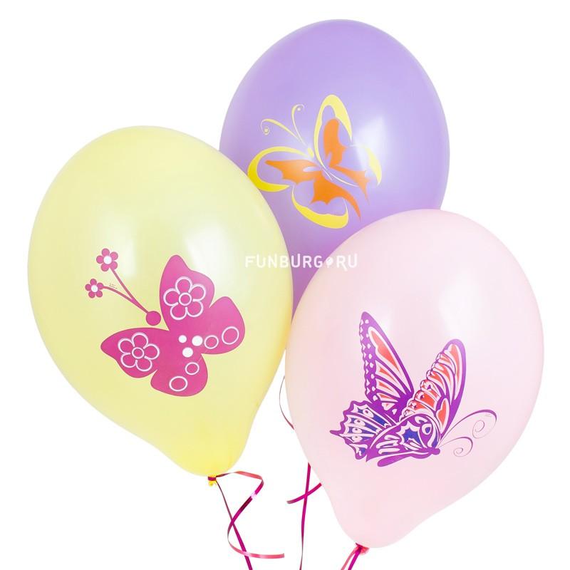 Воздушные шары «Бабочки»Летние шары<br>Размер: 35 см (14)Производитель: Belbal, БельгияЦвет шаров: ассорти (пастель)<br>