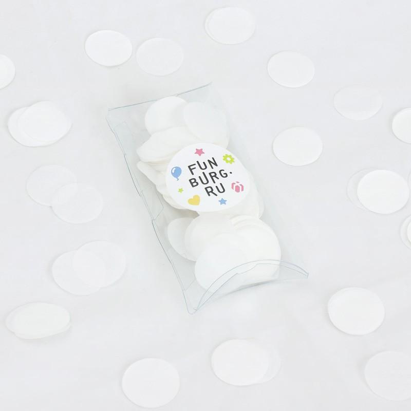 Бумажное конфетти «Белое»Конфетти<br> <br>Состав:<br><br><br>30 г бумажного конфетти, пластиковая коробочка<br><br><br> <br>Размер:<br><br><br>диаметр 3 см, размер коробочки 7х12,5 см<br><br>