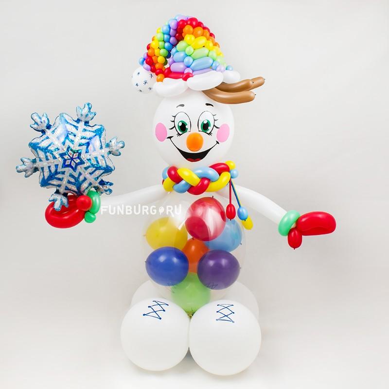 Фигура из шаров «Яркий снеговик»Новый год<br>Высота фигуры: 80-90 см<br> Производство: Funburg.ru<br>