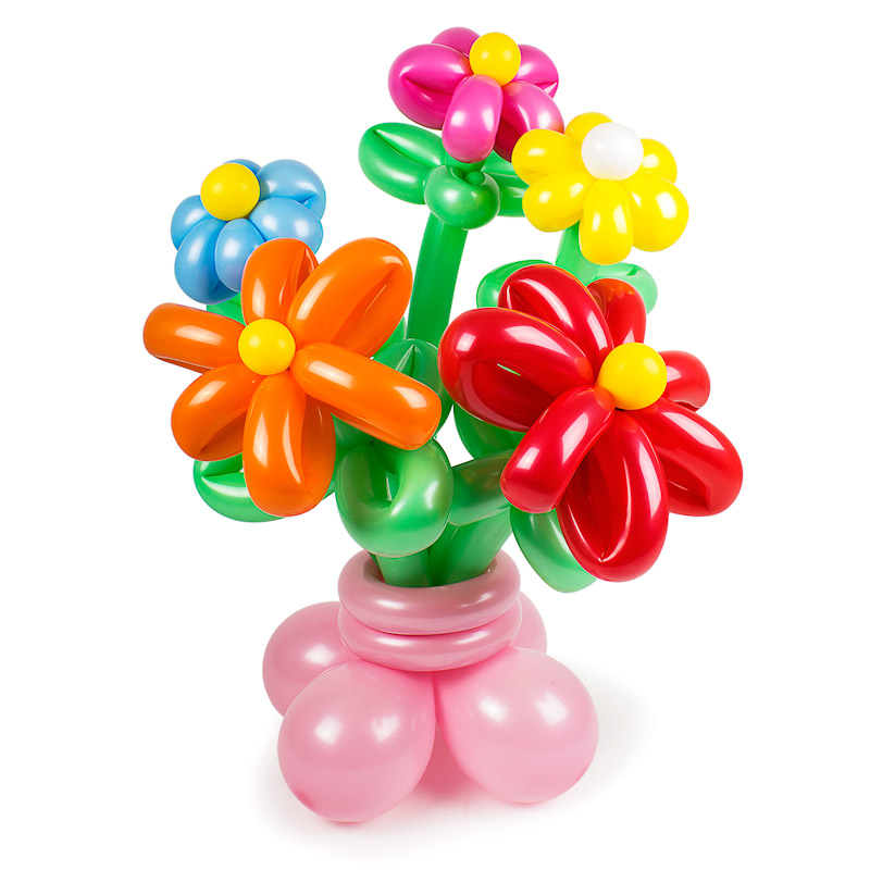 Фигура из шаров «Рассвет»Цветы из шаров<br>Состав: 5 цветков, горшок<br>Высота: 50-60 см<br>Производство: Funburg.ru<br>