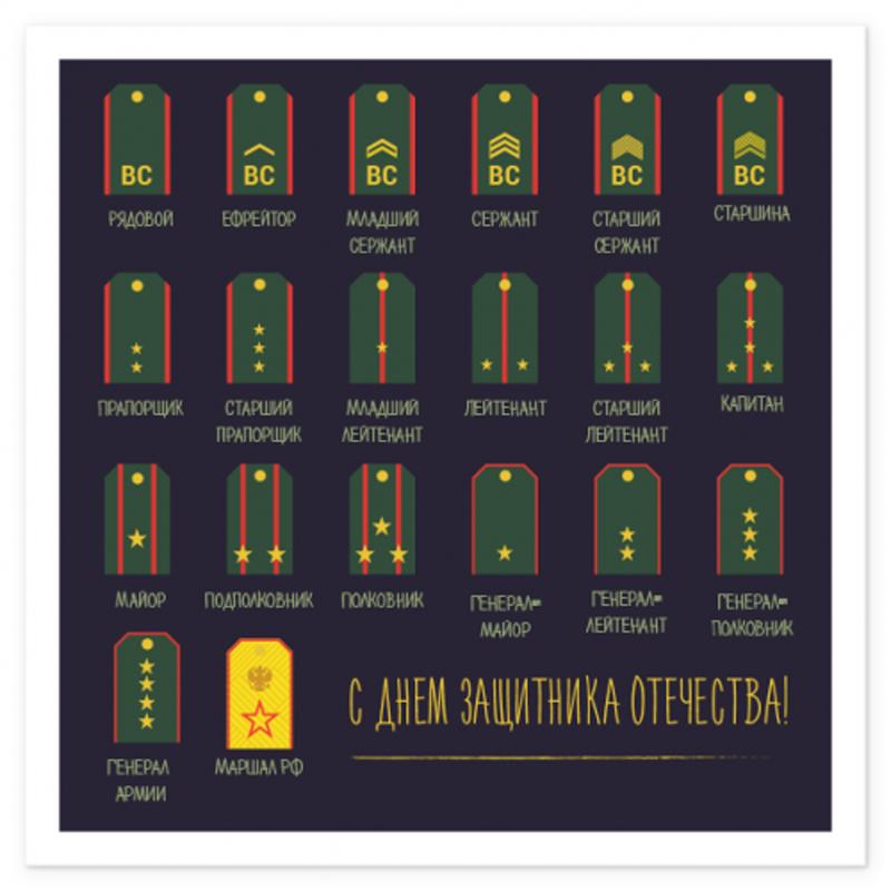 Открытка на магните с конвертом «Погоны. С днем защитника отечества!»23 Февраля<br> <br>Размер:<br><br><br>12?12 см<br><br> <br>Состав:<br><br><br>открытка, цветной конвертик<br><br>