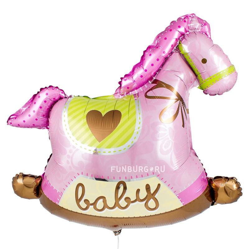 Шар из фольги «Лошадка-качалка (розовая)»Из фольги с рисунком<br>Размер: 91 см (36)Производитель: Anagram, США<br>