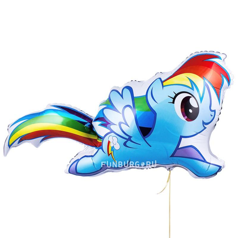 Шарик из фольги «Милая пони Радуга Дэш»Из фольги с рисунком<br>Размер: 109 см (43)Производитель: Flexmetal, Испания<br>