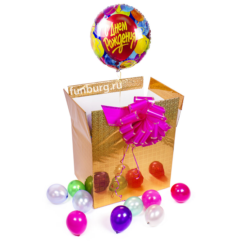 Коробка с шарами «Сюрприз с шариком»Коробки с шарами<br>Размер: 51?37?42 см<br>Цвет коробки: на ваш выбор<br>Состав: коробка, 50 шаров 5, шар из фольги<br>