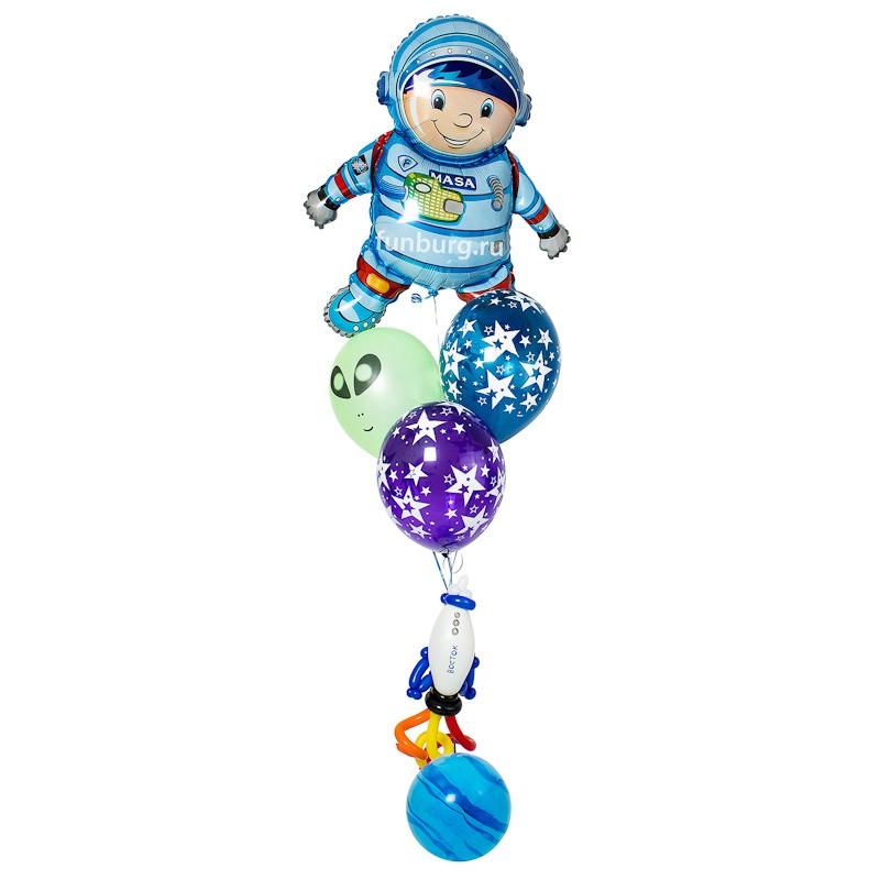 Фигура из шаров «Гравитация»Все фигуры<br>Состав: космонавт, звезды, Земля и ракета<br> Размер: 60?180 см<br> Производство: Funburg.ru<br>