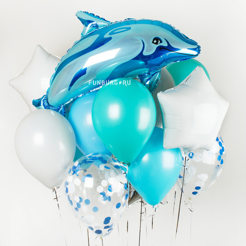 Набор шаров «Дельфин»Латексные без рисунка<br>Вы можете корректировать количество шаров в наборе по своему желанию.<br>