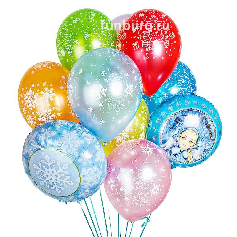 Букет шаров «Новогодний»Наборы шаров<br>Состав:<br> 2 фольгированных шара (18)<br> 9 шаров из латекса (12)<br> груз<br>пакет для транспортировки<br>