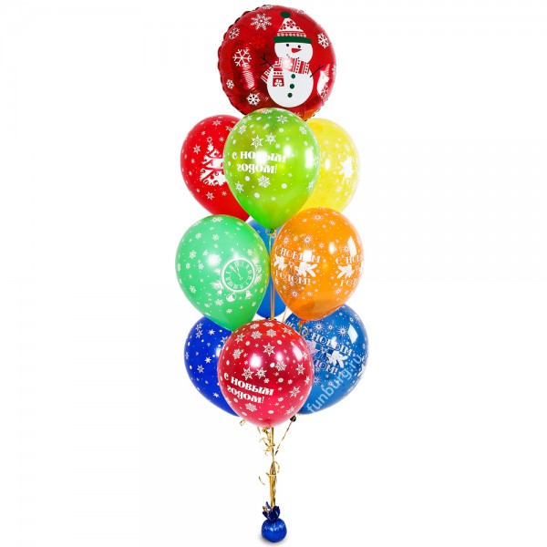 Букет из шаров «Снеговик»Наборы шаров<br>Размер шаров: 30 см<br> Высота букета: 180 см<br> Состав: 9 шаров с новогодним рисунком, шар «Веселый снеговичок», грузик<br> Цвет шаров: ассорти<br>