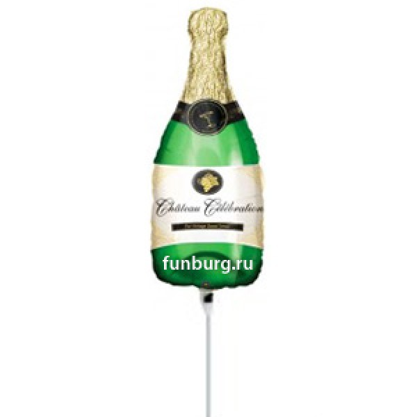Шар на палочке «Бутылка шампанского»Из фольги с рисунком<br>Размер: 35 смПроизводитель: Anagram, США<br>