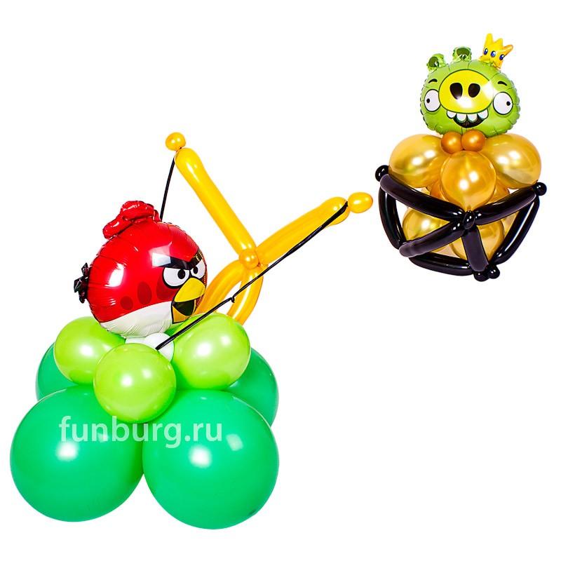 Фигура из шаров «Angry Birds в Бой!»Все фигуры<br>Состав: 1- я часть с Angry Bird «Ред» 50-60 см, 2-я часть с Angry Bird «Свинья» 30-40 см<br>