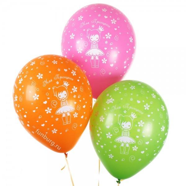 Воздушные шары «Моя принцесса»Латексные с рисунком<br>Размер: 30 см (12)Производитель: Sempertex, КолумбияЦвет шаров: ассорти (пастель)<br>