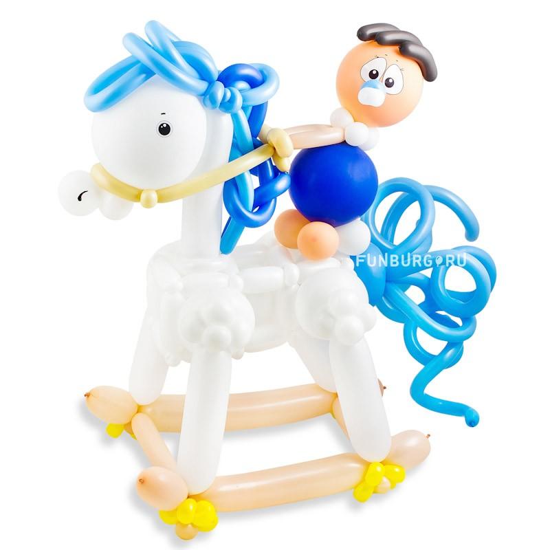 Фигура из шаров «Малыш на лошадке»Все фигуры<br>Размер: высота 80 см<br> Производство: Funburg.ru<br>