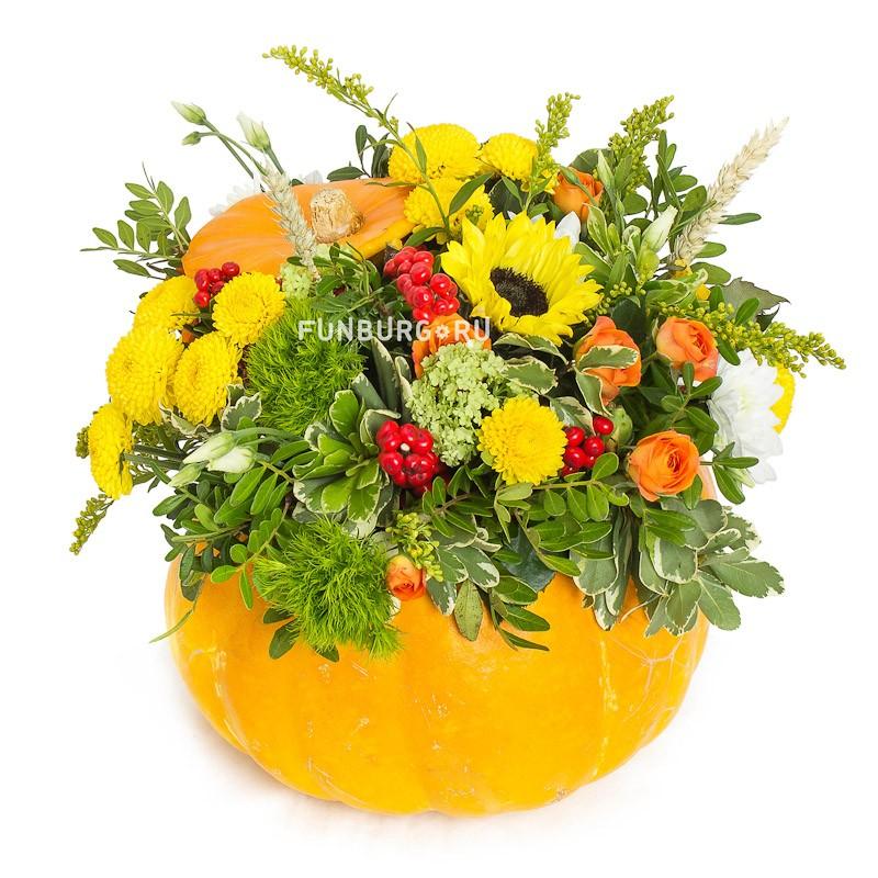 Композиция «Тыковка» (вариант 2)Осенние букеты<br> <br>Размер:<br><br><br>диаметр 25-30 см, высота 25 см<br><br>