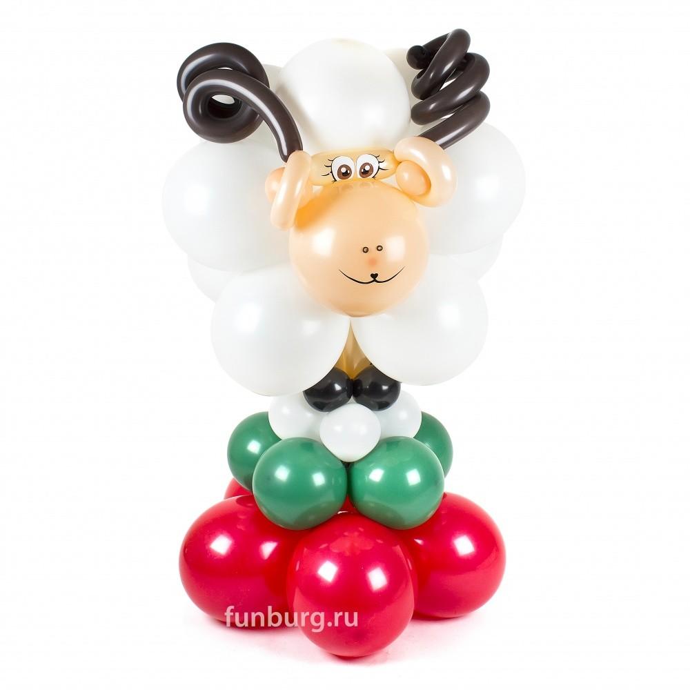Фигура из шаров «Снежный барашек»Новый год<br>Высота фигуры: 120 см<br> Производство: Funburg.ru<br>