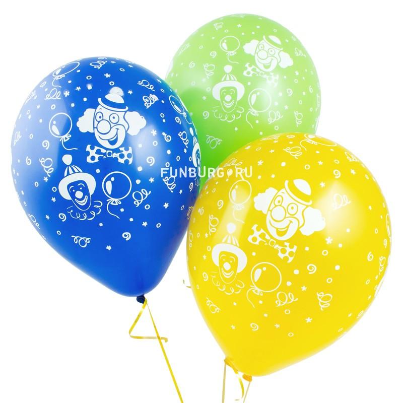 Воздушные шары «Клоуны»Латексные с рисунком<br>Размер: 30 см (12)Производитель: Sempertex, КолумбияЦвет шаров: ассорти (пастель)<br>