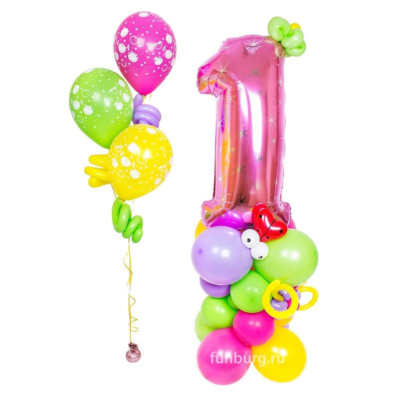 Фигура из шаров «Стойка с цифрой (для девочки)»Все фигуры<br>Высота: 160-180 см<br> Производитель: Funburg.ru<br> Состав: Стойка с розовой цифрой, букет шаров с детскими рисунками<br>
