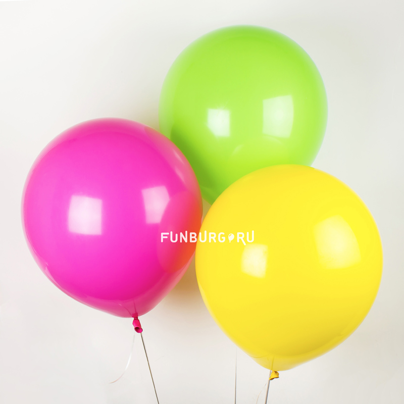 Большие шары без рисунка 18/44 смЛатексные без рисунка<br>Размер: 44 см (18)<br> Цвета: белый, черный, красный, оранжевый, жёлтый, светло-зелёный, голубой, синий, сиреневый, фуксия, айвори, светло-розовый.<br> Производитель: Sempertex, Колумбия<br>