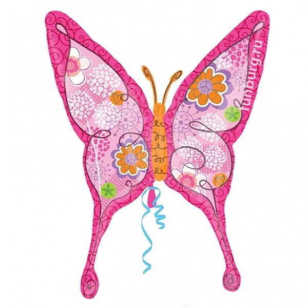 Шар из фольги «Цветочная бабочка»Из фольги с рисунком<br>Размер: 94?71 см<br>Производитель: Anagram, США<br>