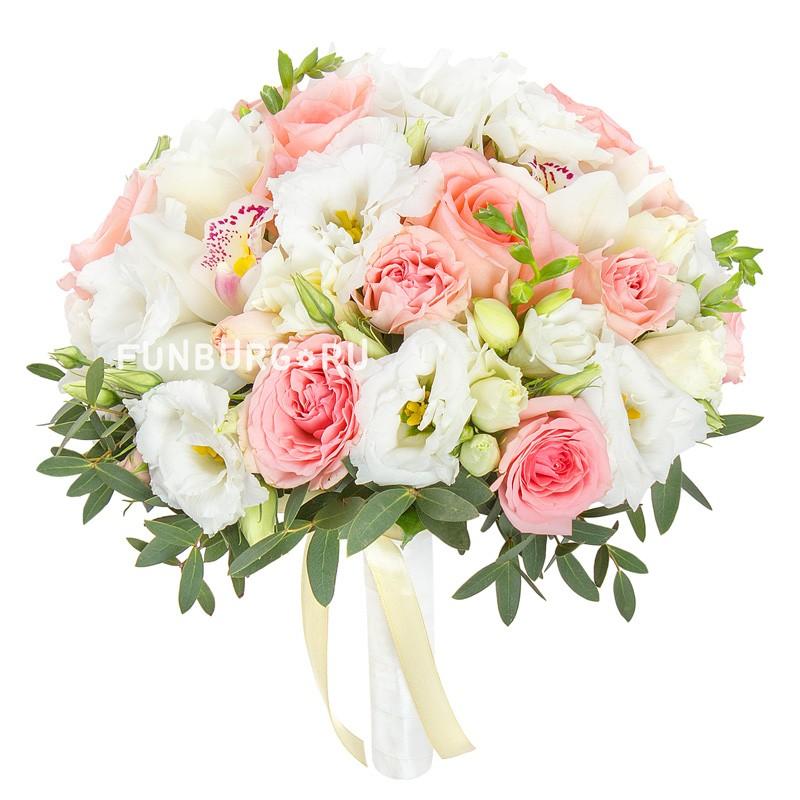 Букет невесты «Свадебный танец» (в розовом цвете)Букеты невесты<br> <br>Диаметр:<br><br><br>20-23 см<br><br>