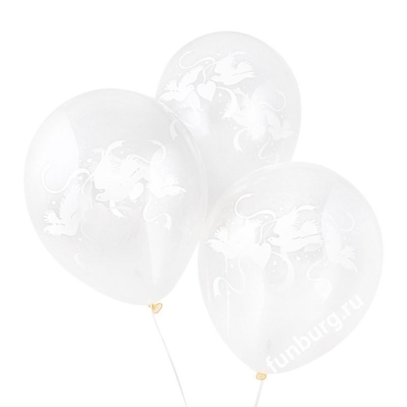 Воздушные шары «Влюбленные голуби»Латексные с рисунком<br>Размер: 30 см (12)Производитель: Neotex, КореяЦвет: прозрачный<br>