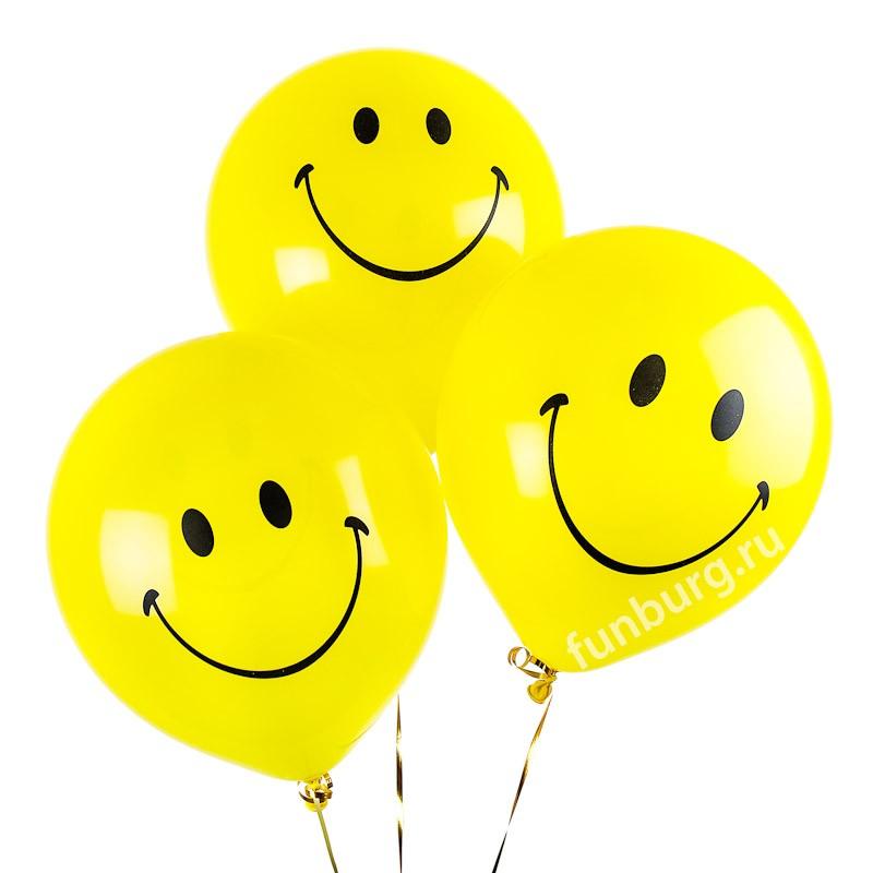 Воздушные шары «Большие желтые улыбки»Латексные с рисунком<br>Размер: 40 см (16)Производитель: Sempertex, КолумбияЦвет: ассорти (пастель)<br>