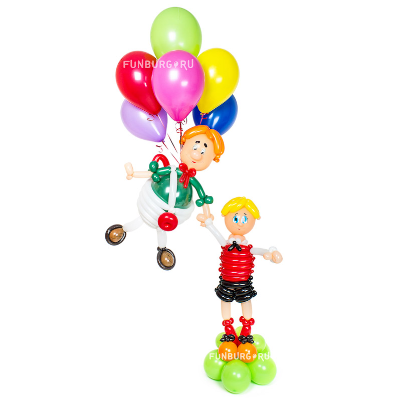 Фигура из шаров «Малыш и Карлсон»Все фигуры<br>Высота: 170-180 см<br>Производство: Funburg.ru<br>