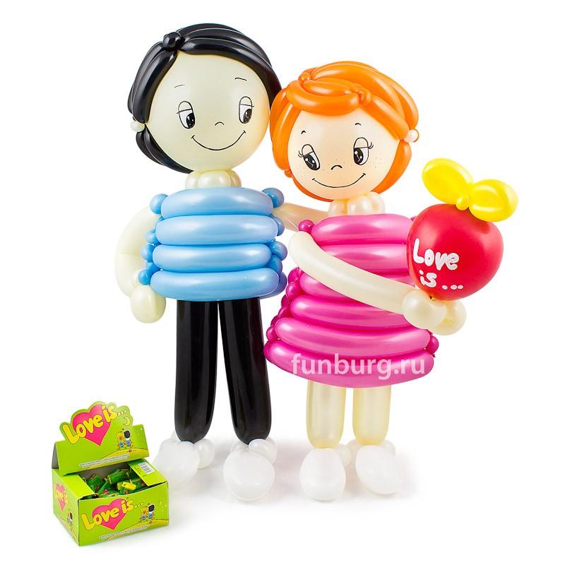 Фигура и жевательная резинка «Love is...»Все фигуры<br>Высота: 65 см<br> Состав:<br> Фигура из шаров «Love is...»<br> Блок жевательной резинки «Love is...»<br>