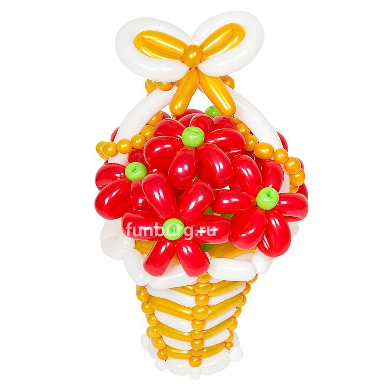 Фигура из шаров «Корзинка цветов (люкс)»Цветы из шаров<br>Высота корзинки цветов: около 70 см<br>Состав: корзинка и 7 цветков<br><br><br>Цветы в корзинке, по вашему желанию, могут быть любого другого цвета (как и сама корзинка). Консультируйтесь с операторами интернет-магазина.<br><br>