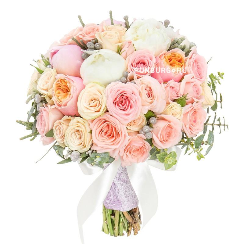 Букет невесты «Медовый месяц» (в розовом цвете)Букеты невесты<br> <br>Размер:<br><br><br>диаметр 20-23 см<br><br>