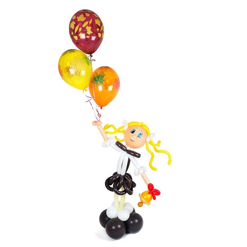Фигура из шаров «Первоклассница»1 Сентября<br>Состав: фигура из шаров, 3 осенних шарика с гелием<br> Высота с шариками: 150 см<br> Производство: Funburg.ru<br>