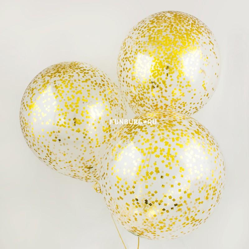 Большой шар с конфетти «Золотой блеск»Латексные с конфетти<br>Размер: 45 см (16)<br>Цвет мелких конфетти: золото<br>Производитель: Sempertex, Колумбия<br>