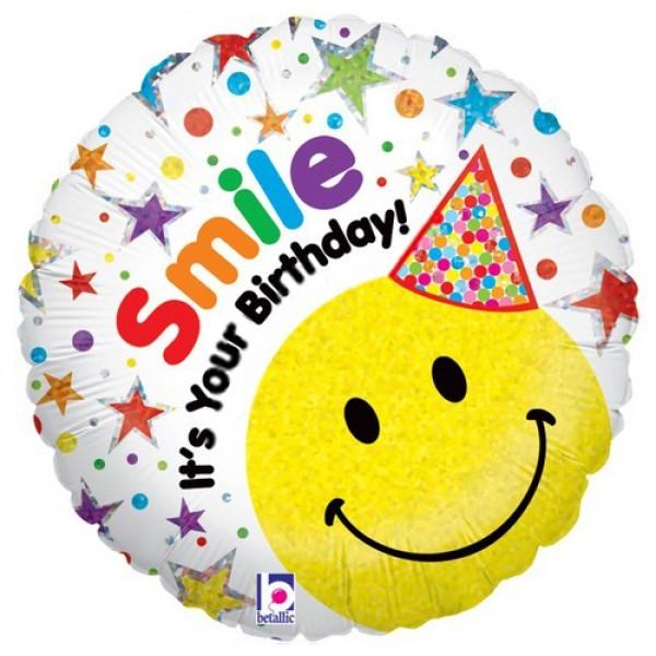 Шар из фольги «Улыбчивый день рождения»День рождения<br>Размер: 45 см (18)Производитель: Betallic, США<br>