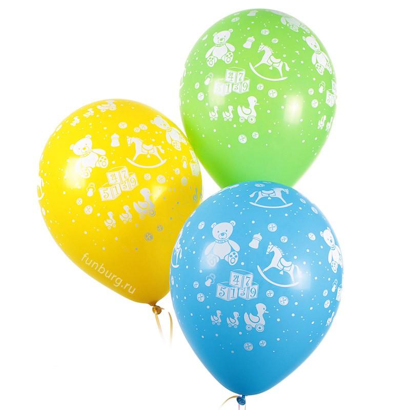 Воздушные шары «Детские игрушки»Латексные с рисунком<br>Размер: 30 см (12)Производитель: Sempertex, КолумбияЦвет шаров: ассорти (пастель)<br>