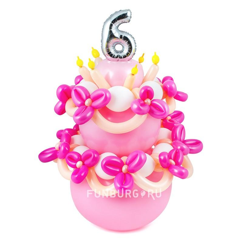 Фигура из шаров «Торт на день Рождения»Все фигуры<br>Размер: 90?50 см<br>Производство: Funburg.ru<br>