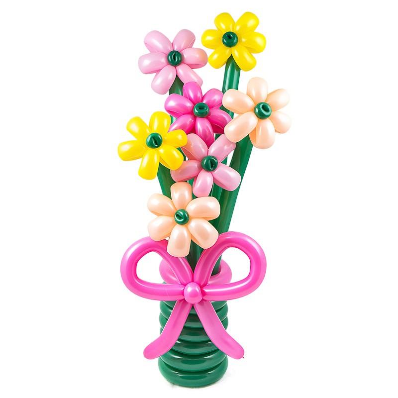 Фигура из шаров «Яркая встреча»Цветы из шаров<br>Высота: 90-100 см<br>Состав: букет из цветов, подставка<br>Производство: Funburg.ru<br>