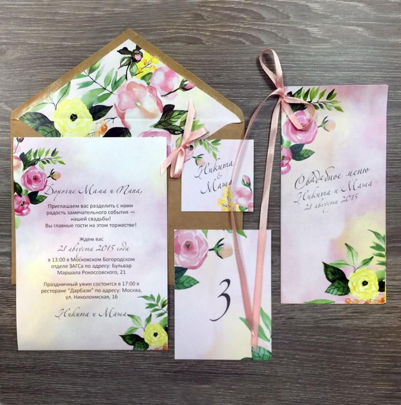Комплект свадебной полиграфии №6Свадебные аксессуары<br> <br>Комплект:<br><br><br>конверт, приглашение, номер стола, бирка, меню<br><br>