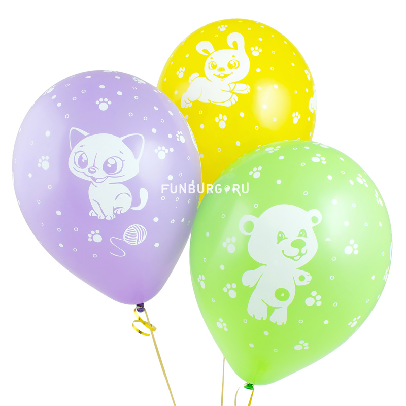 Воздушные шары «Зверюшки»Латексные с рисунком<br>Размер: 30 см (12)Производитель: Sempertex, КолумбияЦвет шаров: ассорти (пастель)<br>