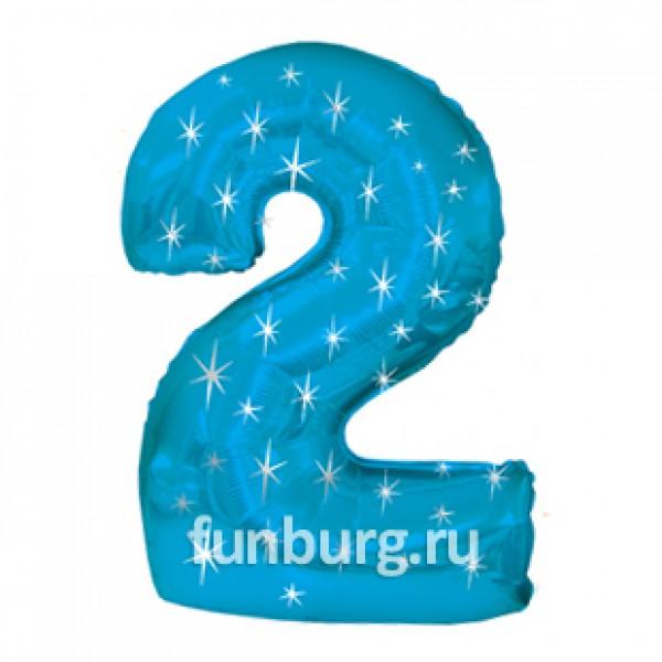 Шар из фольги «Цифра 2 (голубая)»Цифры<br>Размер: 100?60 см Производитель: CTI, США<br>