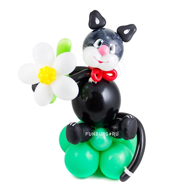 Фигура из шаров «Чёрный кот»Все фигуры<br>Высота: 90 см<br> Производитель: Funburg.ru<br> Состав: чёрный котик с цветочком<br>