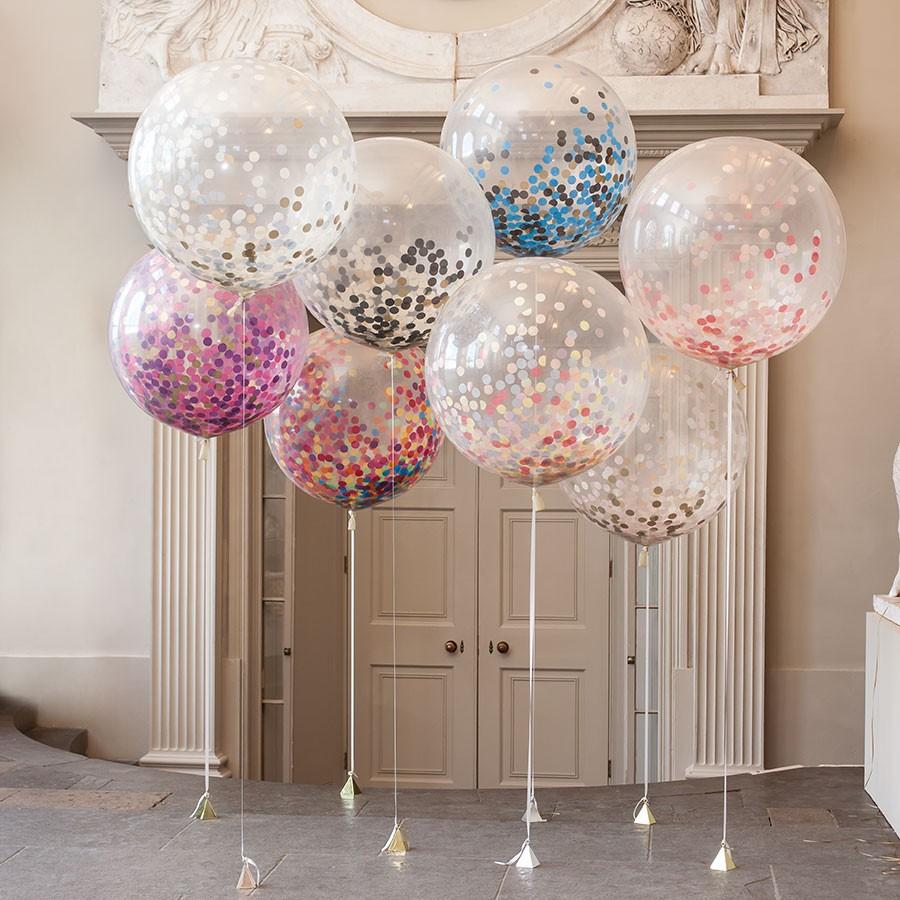 Метровый шар «Прозрачный с конфетти»Метровые шары<br>Диаметр: 70-80 смПроизводитель: Sempertex, КолумбияВ комплект входит: шар, наполненный гелием, конфетти, лента, грузик<br>