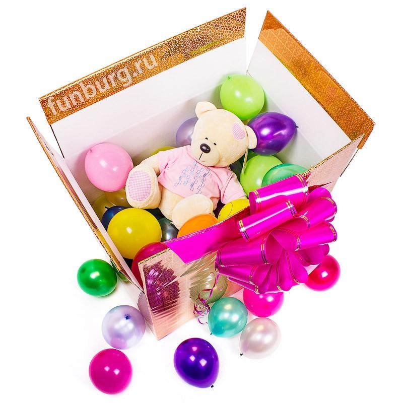 Коробка с шарами «Сюрприз с игрушкой»Коробки с шарами<br>Размер: 51?37?42 см<br>Цвет коробки: на ваш выбор<br>Состав: коробка, 50 шаров 5, мягкая игрушка из серии Orange<br>